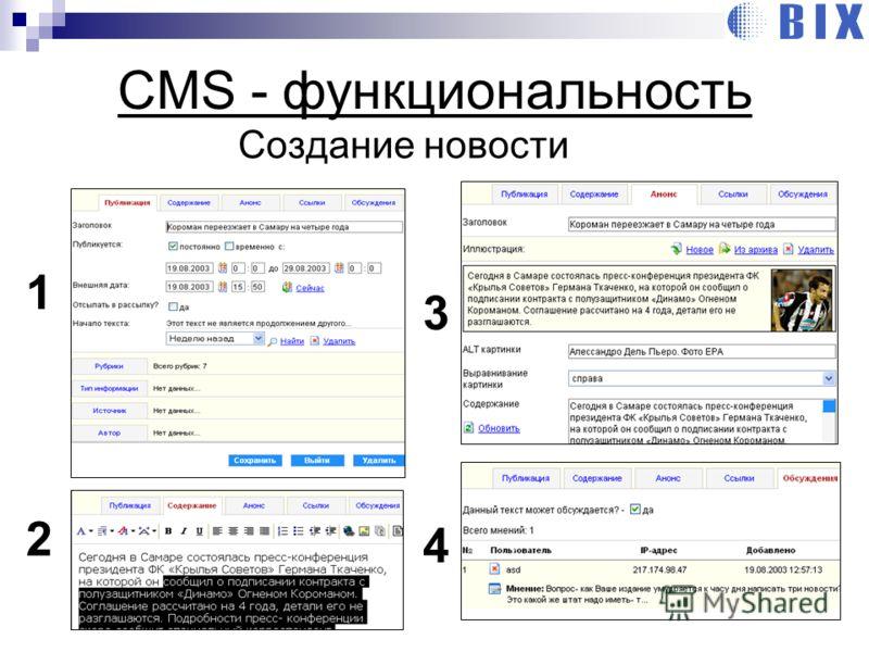 Создание новости CMS - функциональность 1 2 3 4
