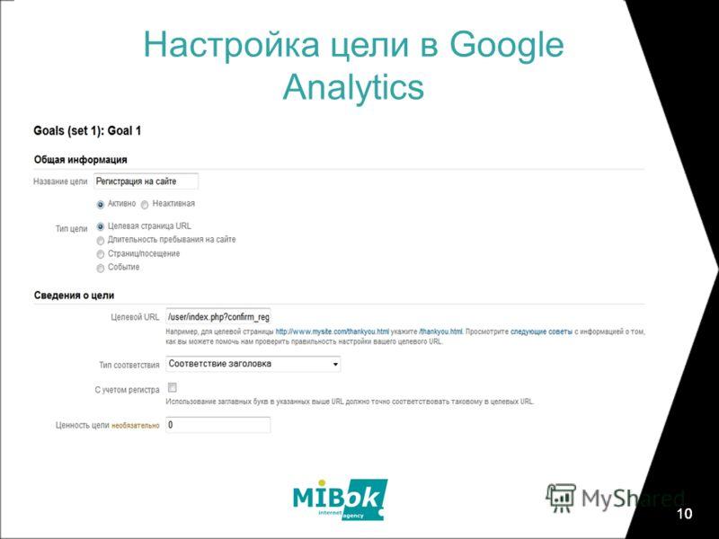 10 Настройка цели в Google Analytics