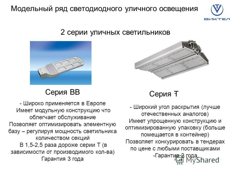 Модельный ряд светодиодного уличного освещения 2 серии уличных светильников Серия BB - Широко применяется в Европе Имеет модульную конструкцию что облегчает обслуживание Позволяет оптимизировать элементную базу – регулируя мощность светильника количе