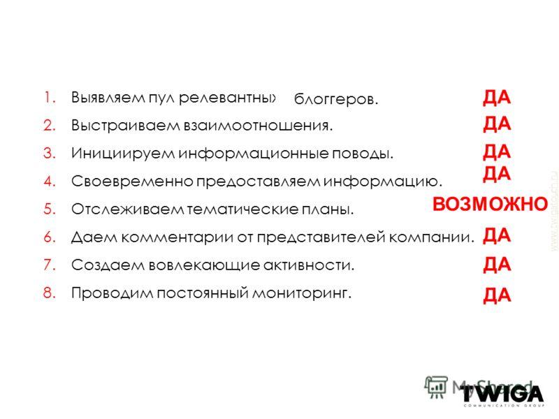 www.twigatouch.ru 1.Выявляем пул релевантных журналистов. 2.Выстраиваем взаимоотношения. 3.Инициируем информационные поводы. 4.Своевременно предоставляем информацию. 5.Отслеживаем тематические планы. 6.Даем комментарии от представителей компании. 7.С