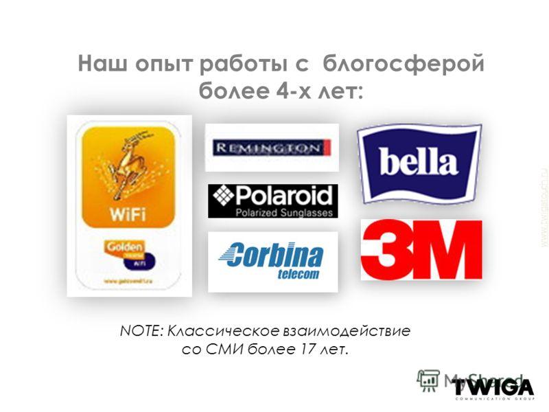 www.twigatouch.ru Наш опыт работы с блогосферой более 4-х лет: NOTE: Классическое взаимодействие со СМИ более 17 лет.
