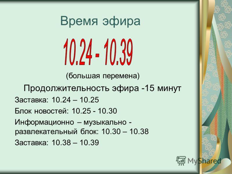 Время эфира (большая перемена) Продолжительность эфира -15 минут Заставка: 10.24 – 10.25 Блок новостей: 10.25 - 10.30 Информационно – музыкально - развлекательный блок: 10.30 – 10.38 Заставка: 10.38 – 10.39