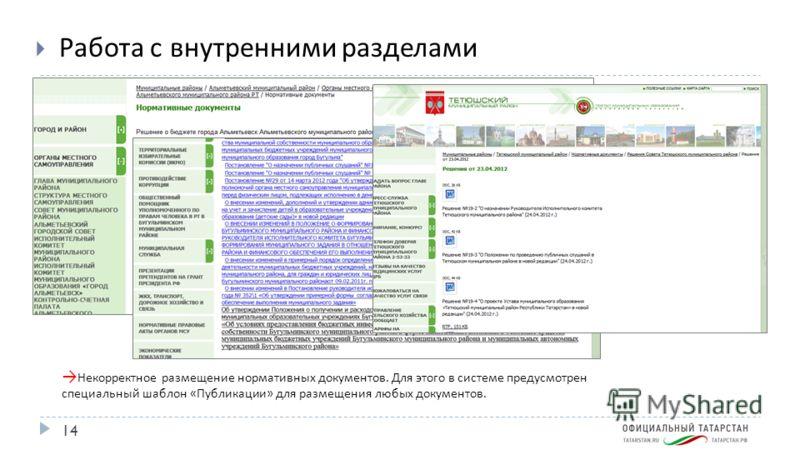 14 Работа с внутренними разделами Некорректное размещение нормативных документов. Для этого в системе предусмотрен специальный шаблон « Публикации » для размещения любых документов.