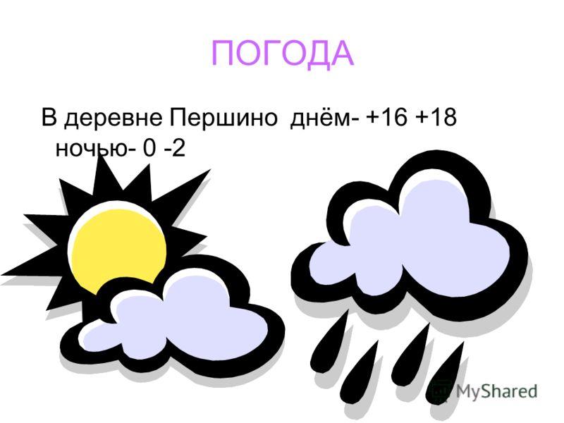 ПОГОДА В деревне Першино днём- +16 +18 ночью- 0 -2