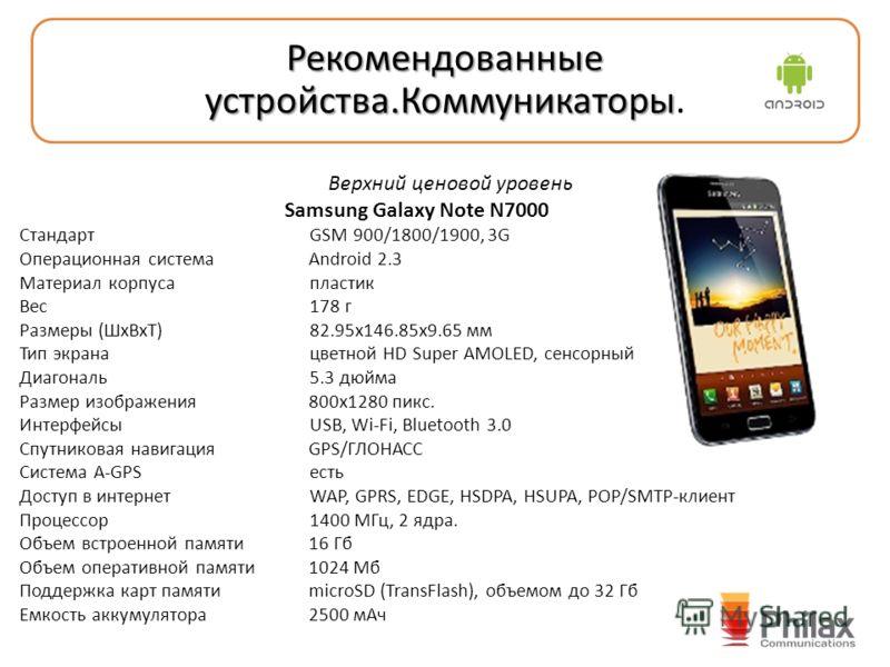 Верхний ценовой уровень Samsung Galaxy Note N7000 Стандарт GSM 900/1800/1900, 3G Операционная система Android 2.3 Материал корпуса пластик Вес 178 г Размеры (ШxВxТ) 82.95x146.85x9.65 мм Тип экрана цветной HD Super AMOLED, сенсорный Диагональ 5.3 дюйм