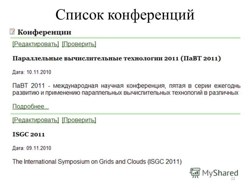 Список конференций 22