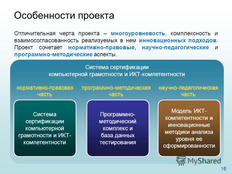 16 Отличительная черта проекта – многоуровневость, комплексность и взаимосогласованность реализуемых в нем инновационных подходов. Проект сочетает нормативно-правовые, научно-педагогические и программно-методические аспекты. Особенности проекта Систе
