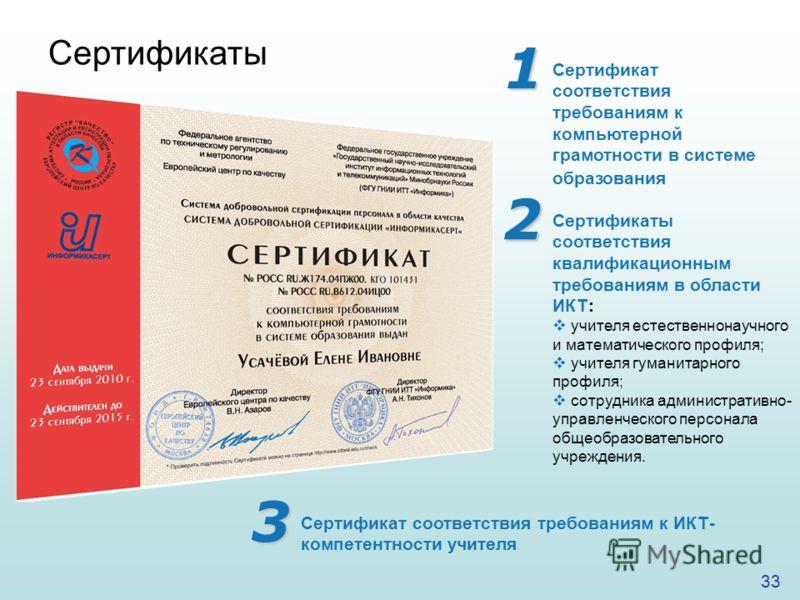 33 Сертификаты Сертификат соответствия требованиям к компьютерной грамотности в системе образования Сертификаты соответствия квалификационным требованиям в области ИКТ: учителя естественнонаучного и математического профиля; учителя гуманитарного проф