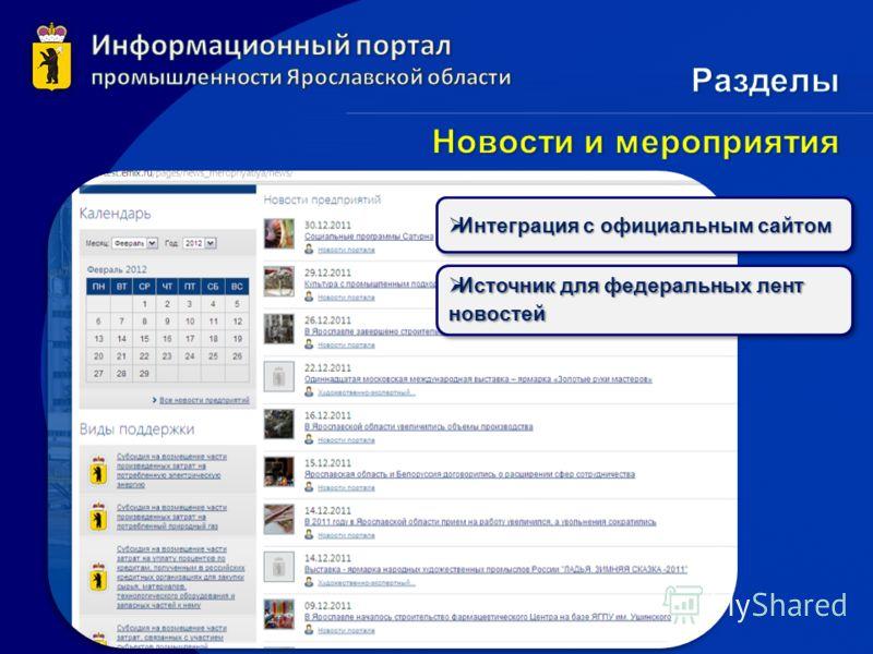 Интеграция с официальным сайтом Интеграция с официальным сайтом Источник для федеральных лент новостей Источник для федеральных лент новостей