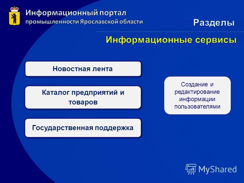 Новостная лента Каталог предприятий и товаров Государственная поддержка Создание и редактирование информации пользователями