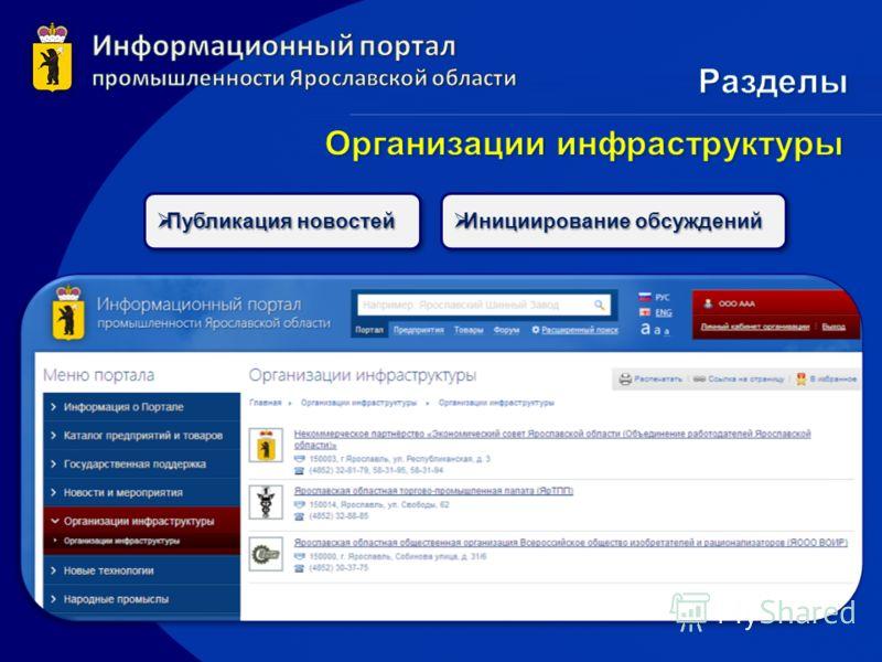 Публикация новостей Публикация новостей Инициирование обсуждений Инициирование обсуждений