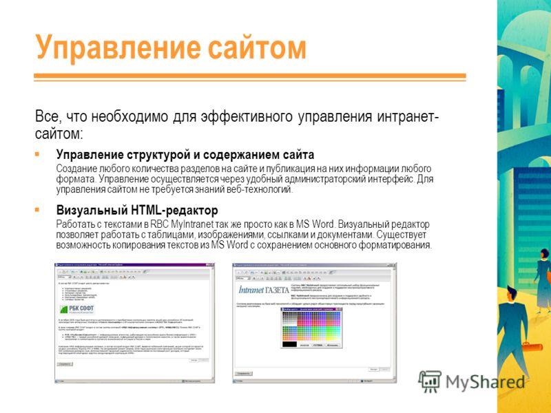 Управление сайтом Все, что необходимо для эффективного управления интранет- сайтом: Управление структурой и содержанием сайта Создание любого количества разделов на сайте и публикация на них информации любого формата. Управление осуществляется через