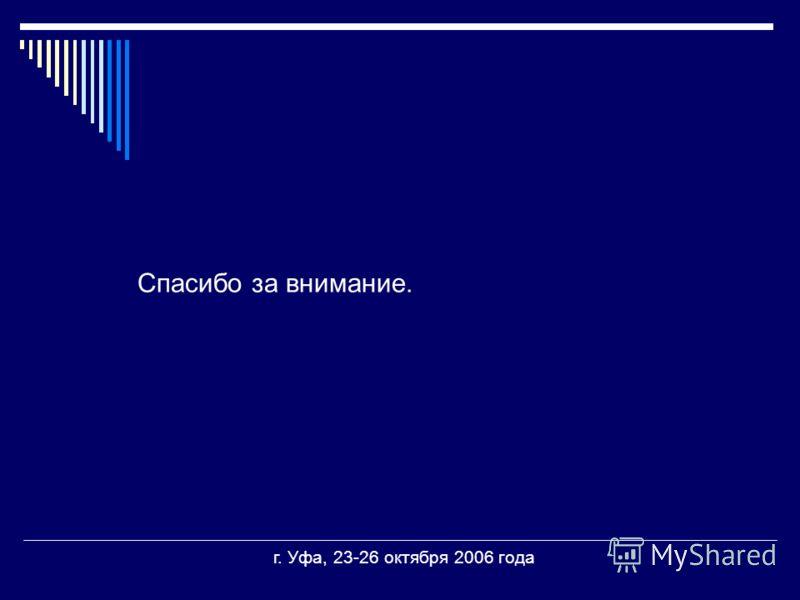 Спасибо за внимание. г. Уфа, 23-26 октября 2006 года