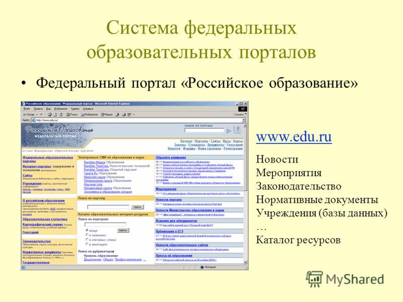 Система федеральных образовательных порталов Федеральный портал «Российское образование» www.edu.ru Новости Мероприятия Законодательство Нормативные документы Учреждения (базы данных) … Каталог ресурсов
