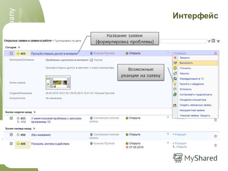 spellabs it.company 2004-2011 spellabs it.company работаем c 2004 года Интерфейс Возможные реакции на заявку Название заявки (формулировка проблемы)