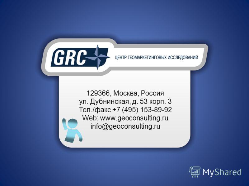 129366, Москва, Россия ул. Дубнинская, д. 53 корп. 3 Тел./факс +7 (495) 153-89-92 Web: www.geoconsulting.ru info@geoconsulting.ru