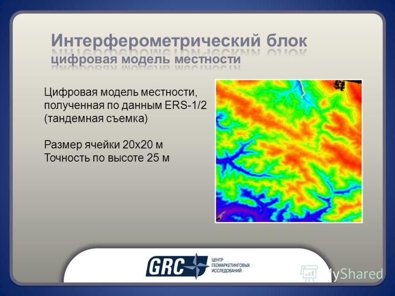 Цифровая модель местности, полученная по данным ERS-1/2 (тандемная съемка) Размер ячейки 20х20 м Точность по высоте 25 м