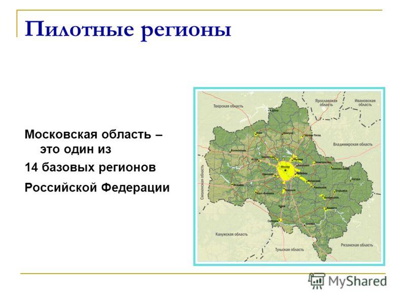 Пилотные регионы Московская область – это один из 14 базовых регионов Российской Федерации