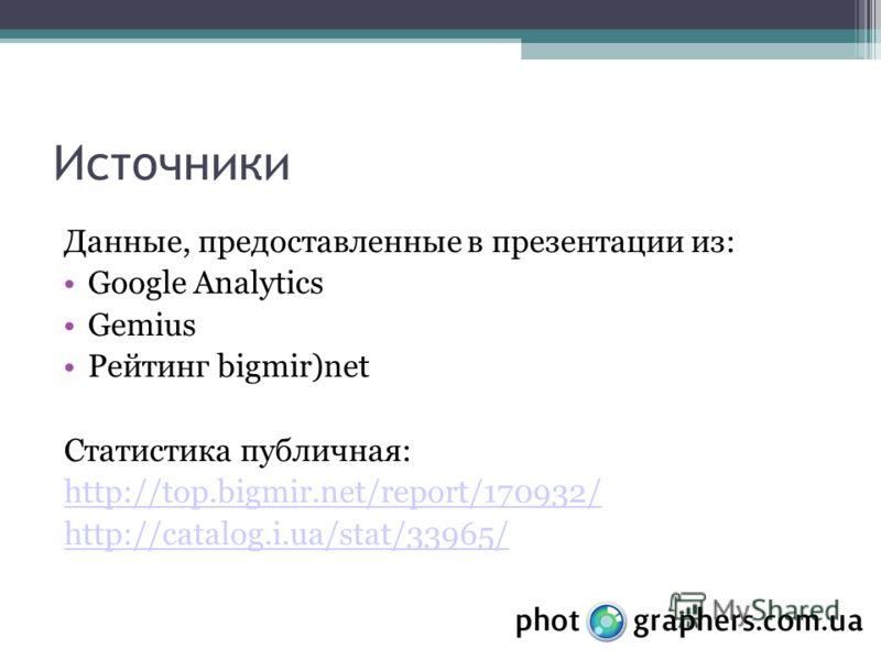 Источники Данные, предоставленные в презентации из: Google Analytics Gemius Рейтинг bigmir)net Статистика публичная: http://top.bigmir.net/report/170932/ http://catalog.i.ua/stat/33965/