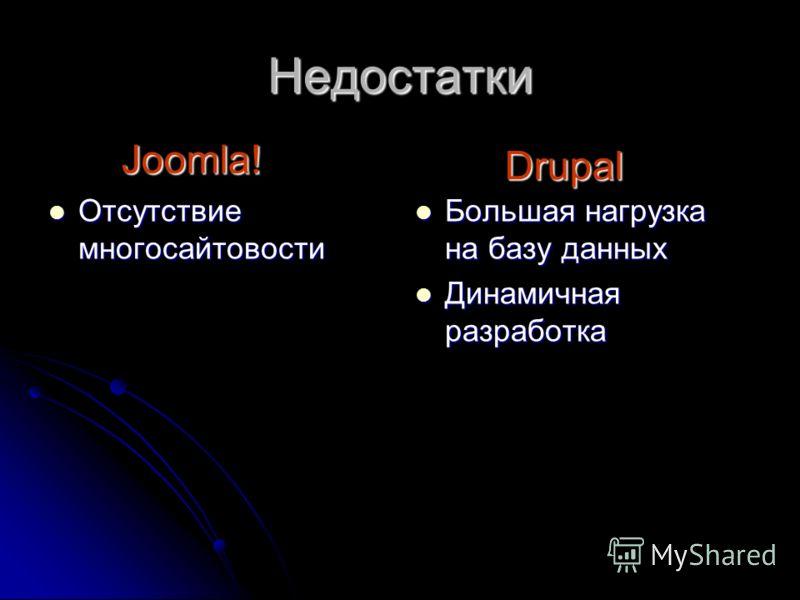Недостатки Отсутствие многосайтовости Отсутствие многосайтовости Большая нагрузка на базу данных Большая нагрузка на базу данных Динамичная разработка Динамичная разработка Joomla! Drupal