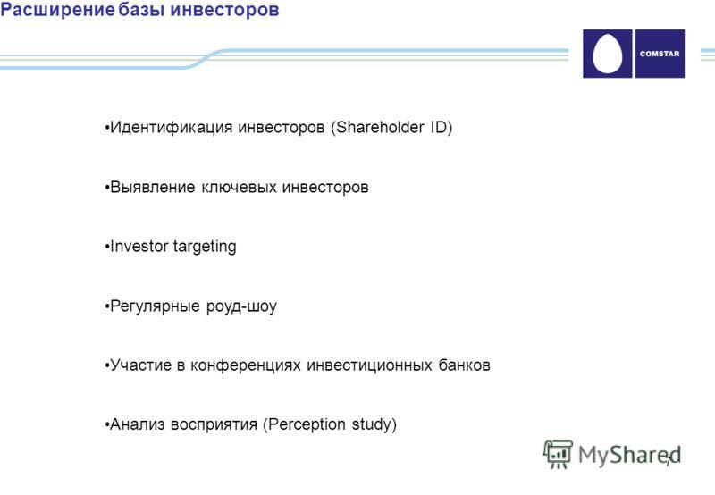 7 Расширение базы инвесторов Идентификация инвесторов (Shareholder ID) Выявление ключевых инвесторов Investor targeting Регулярные роуд-шоу Участие в конференциях инвестиционных банков Анализ восприятия (Perception study)