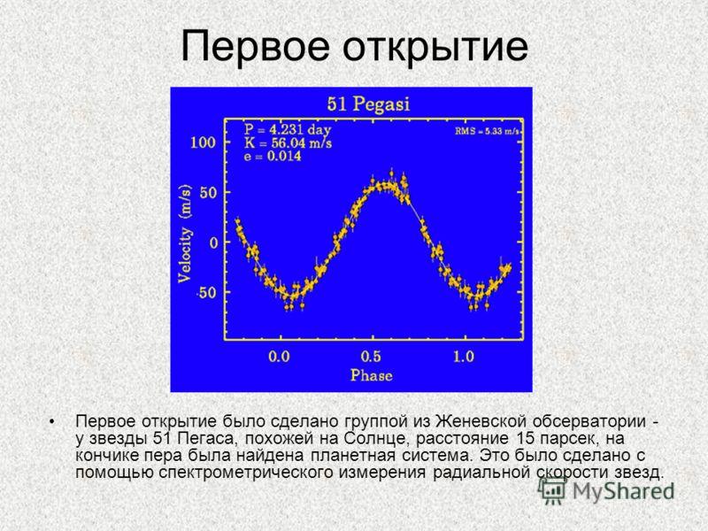 Первое открытие Первое открытие было сделано группой из Женевской обсерватории - у звезды 51 Пегаса, похожей на Солнце, расстояние 15 парсек, на кончике пера была найдена планетная система. Это было сделано с помощью спектрометрического измерения рад