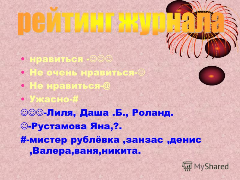 нравиться - Не очень нравиться- Не нравиться-@ Ужасно-# -Лиля, Даша.Б., Роланд. -Рустамова Яна,?. #-мистер рублёвка,занзас,денис,Валера,ваня,никита.