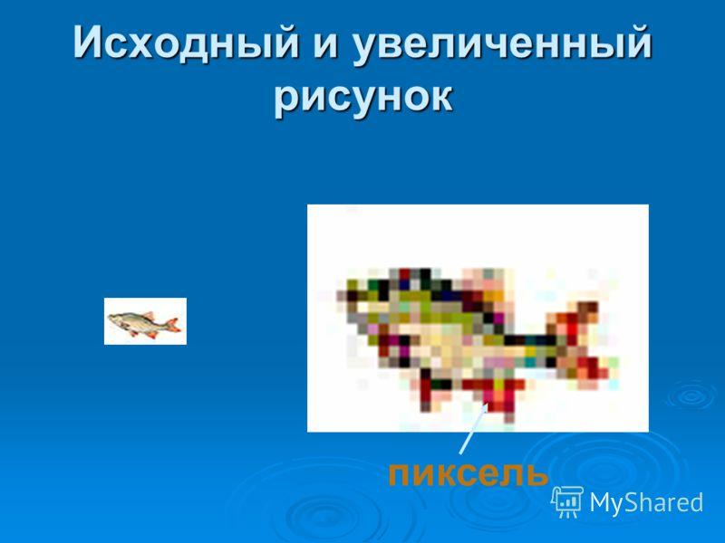 Исходный и увеличенный рисунок пиксель