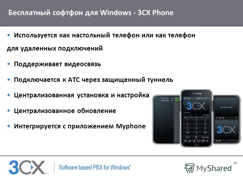 14 Copyright © 2005 ACNielsen a VNU company Бесплатный софтфон для Windows - 3CX Phone Используется как настольный телефон или как телефон для удаленных подключений Поддерживает видеосвязь Подключается к АТС через защищенный туннель Централизованная