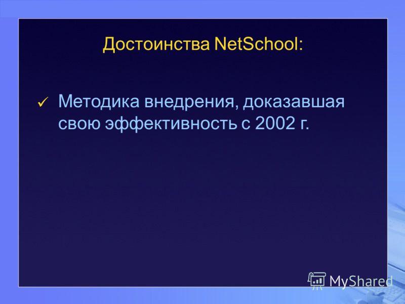 Методика внедрения, доказавшая свою эффективность с 2002 г. Достоинства NetSchool: