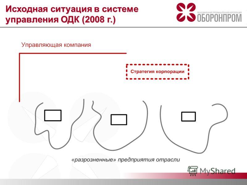 Исходная ситуация в системе управления ОДК (2008 г.)