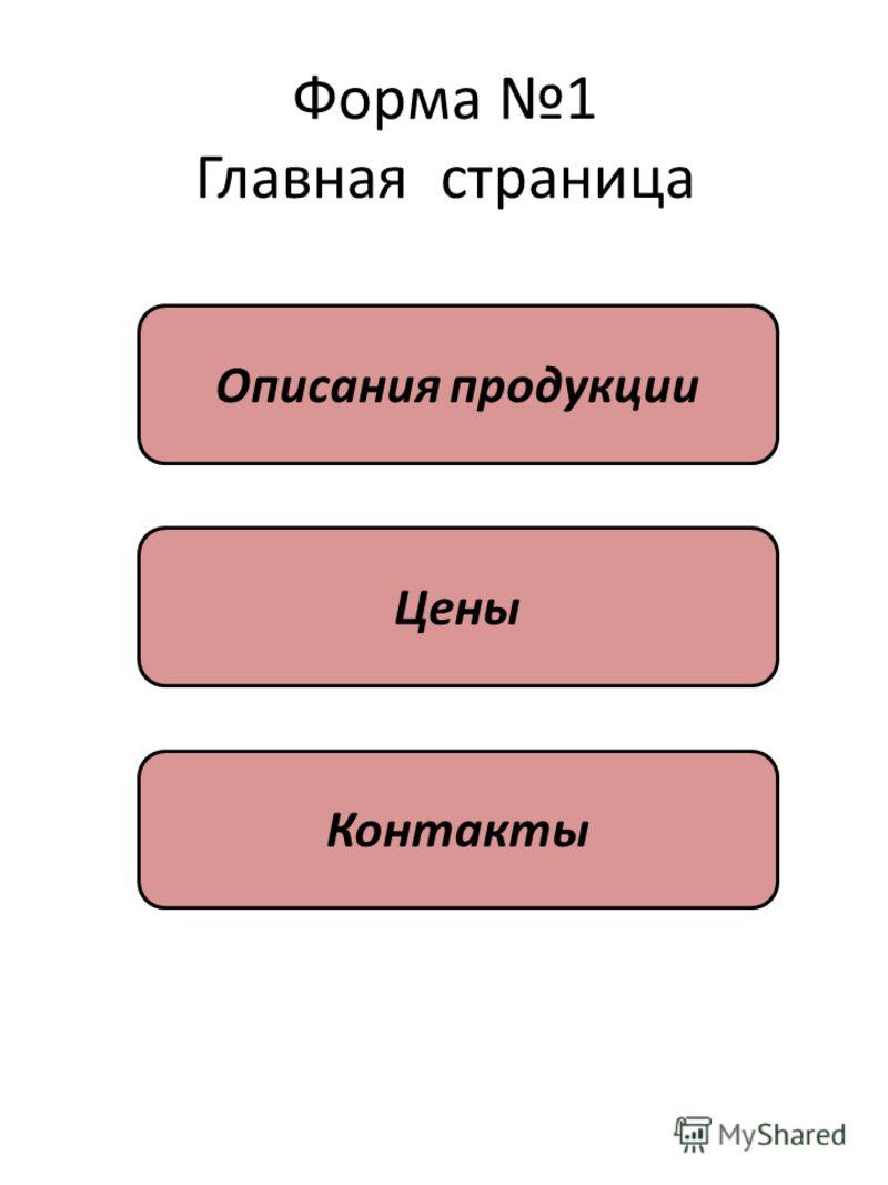 Форма 1 Главная страница Описания продукции Цены Контакты