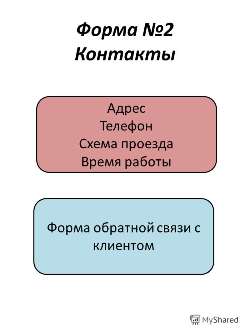 Форма 2 Контакты Адрес Телефон Схема проезда Время работы Форма обратной связи с клиентом