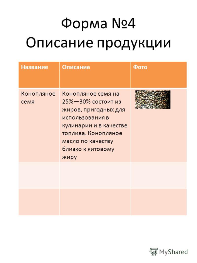 Форма 4 Описание продукции НазваниеОписаниеФото Конопляное семя Конопляное семя на 25%30% состоит из жиров, пригодных для использования в кулинарии и в качестве топлива. Конопляное масло по качеству близко к китовому жиру