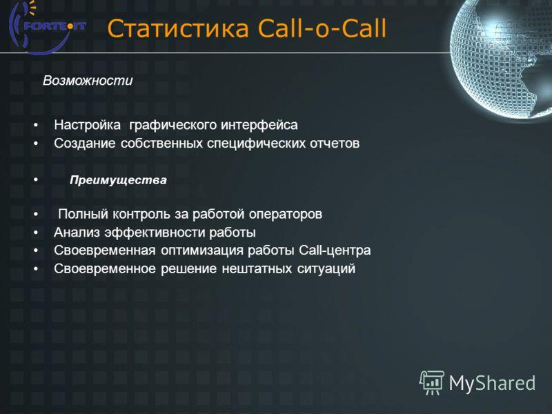 Статистика Call-o-Call Настройка графического интерфейса Создание собственных специфических отчетов Преимущества Полный контроль за работой операторов Анализ эффективности работы Своевременная оптимизация работы Call-центра Своевременное решение нешт