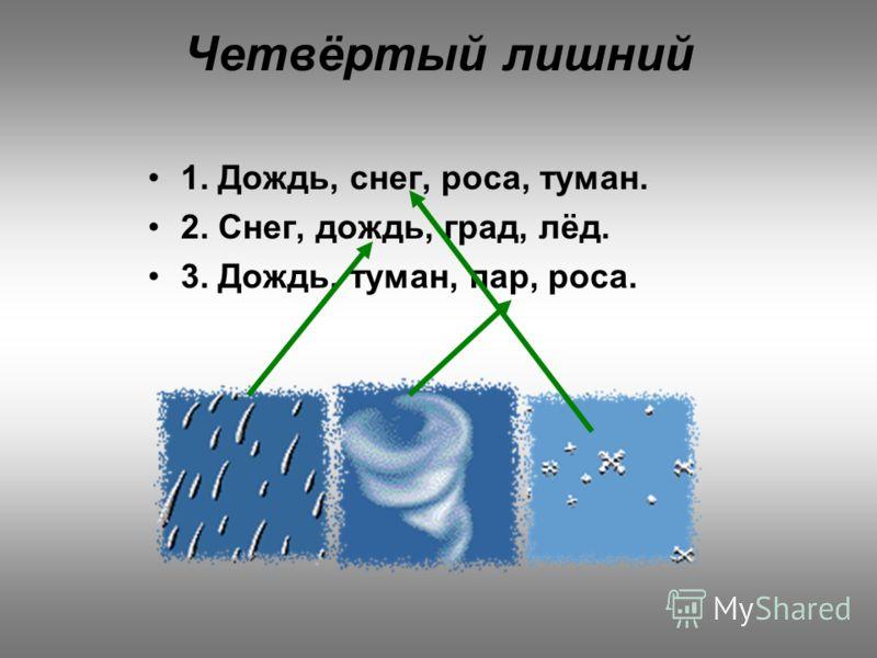 Четвёртый лишний 1. Дождь, снег, роса, туман. 2. Снег, дождь, град, лёд. 3. Дождь, туман, пар, роса.