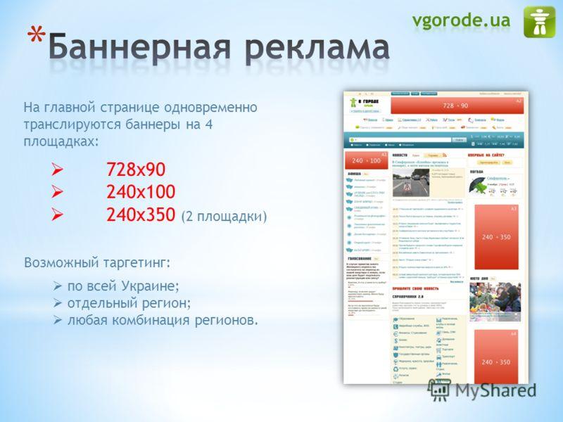 На главной странице одновременно транслируются баннеры на 4 площадках: 728х90 240х100 240x350 (2 площадки) Возможный таргетинг: по всей Украине; отдельный регион; любая комбинация регионов.