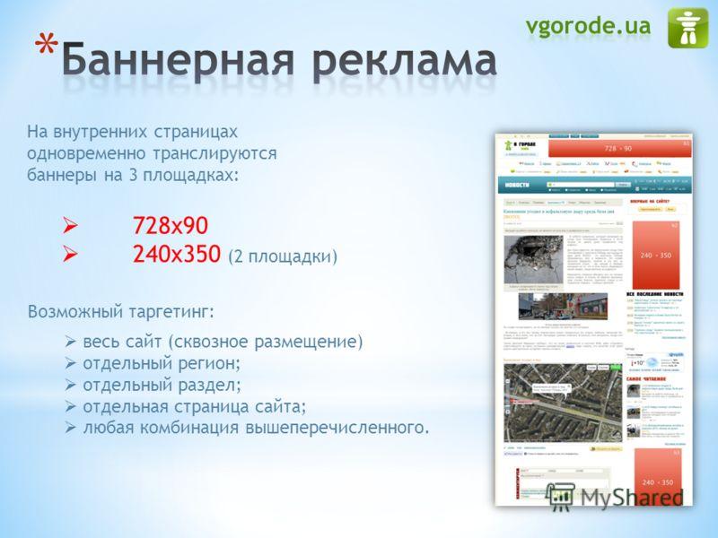 На внутренних страницах одновременно транслируются баннеры на 3 площадках: 728х90 240x350 (2 площадки) Возможный таргетинг: весь сайт (сквозное размещение) отдельный регион; отдельный раздел; отдельная страница сайта; любая комбинация вышеперечисленн