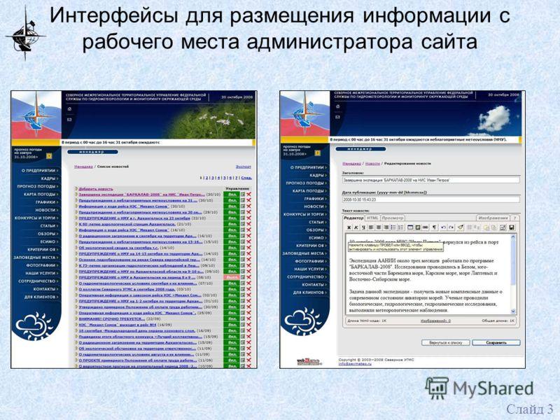 Интерфейсы для размещения информации с рабочего места администратора сайта Слайд 3