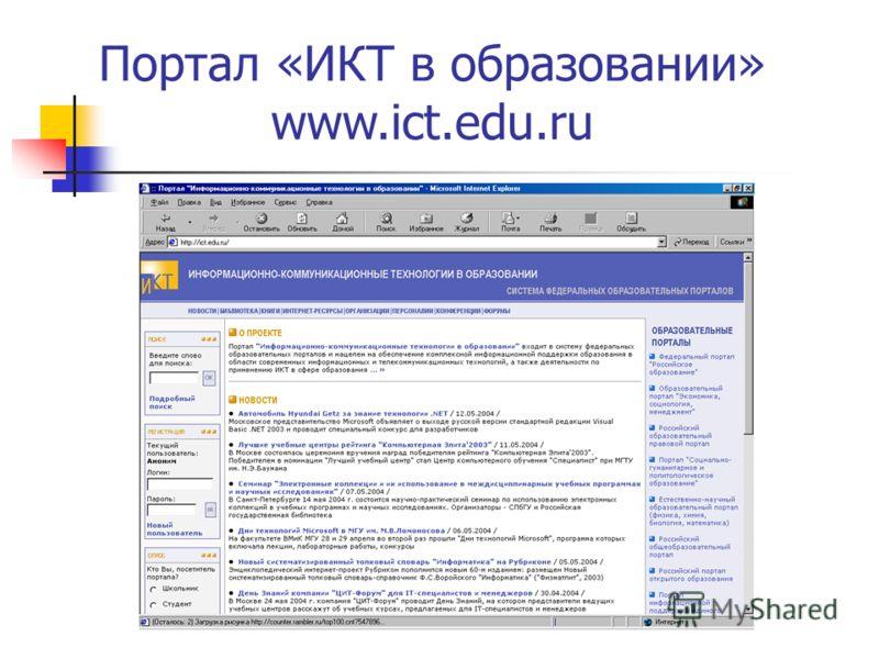 Портал «ИКТ в образовании» www.ict.edu.ru