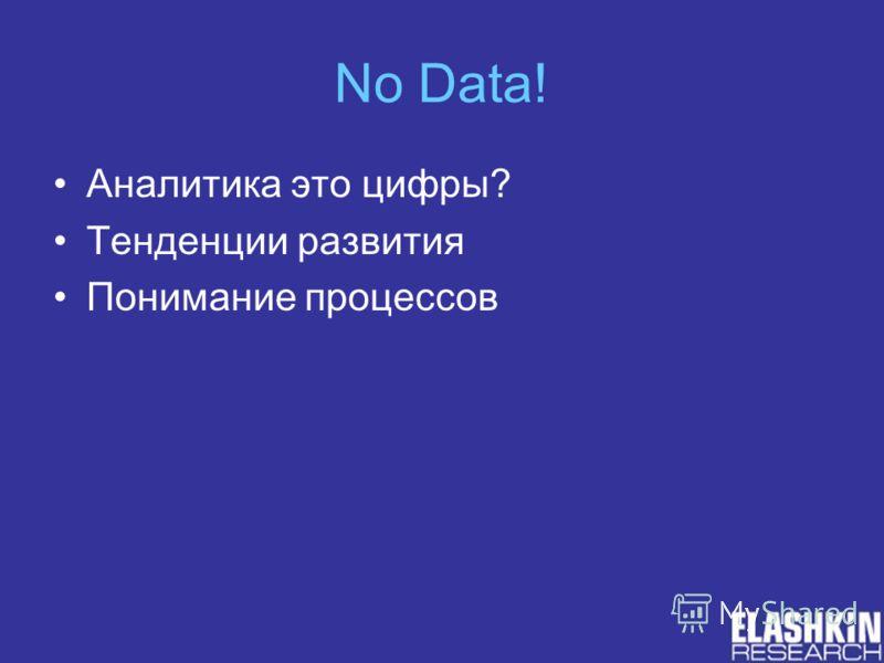 No Data! Аналитика это цифры? Тенденции развития Понимание процессов