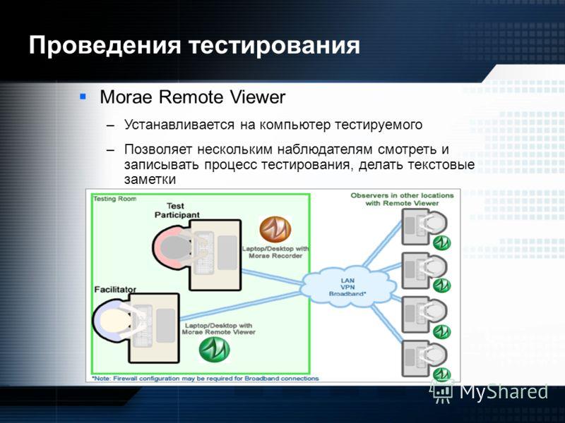 Morae Remote Viewer –Устанавливается на компьютер тестируемого –Позволяет нескольким наблюдателям смотреть и записывать процесс тестирования, делать текстовые заметки Проведения тестирования