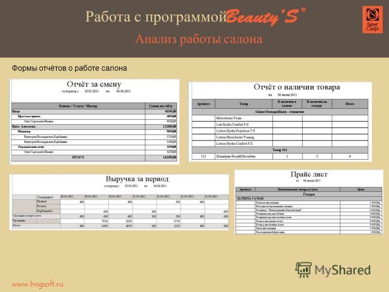 Анализ работы салона Формы отчётов о работе салона Работа с программой www.brigsoft.ru