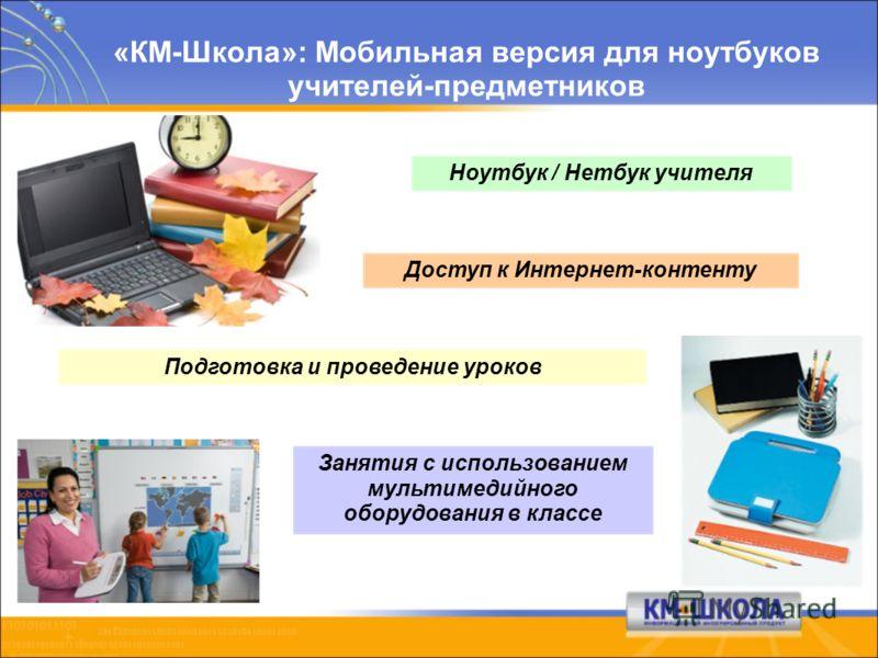 «КМ-Школа»: Мобильная версия для ноутбуков учителей-предметников Ноутбук / Нетбук учителя Доступ к Интернет-контенту Подготовка и проведение уроков Занятия с использованием мультимедийного оборудования в классе