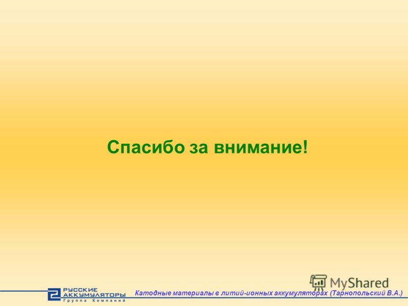 Спасибо за внимание! Катодные материалы в литий-ионных аккумуляторах (Тарнопольский В.А.)