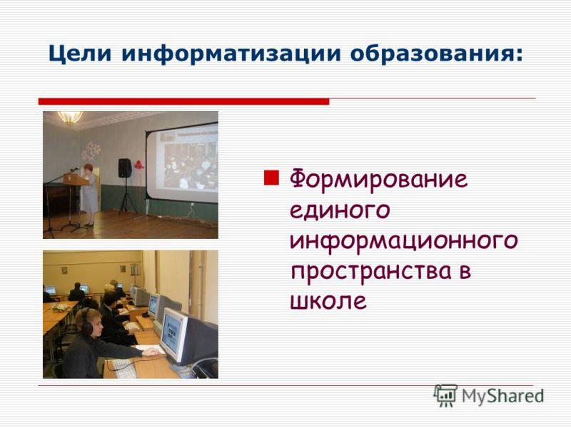 Цели информатизации образования: Формирование единого информационного пространства в школе