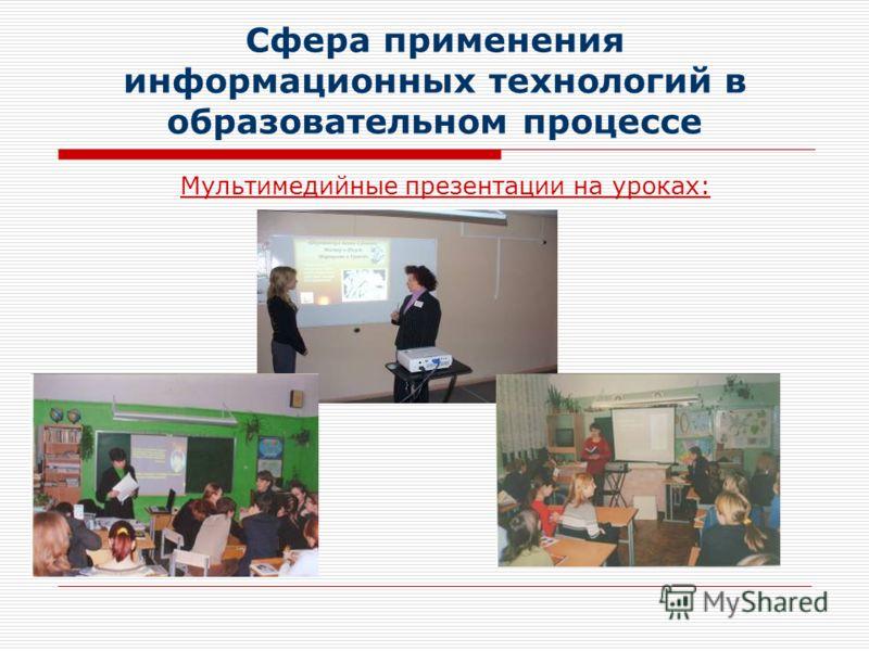 Сфера применения информационных технологий в образовательном процессе Мультимедийные презентации на уроках: