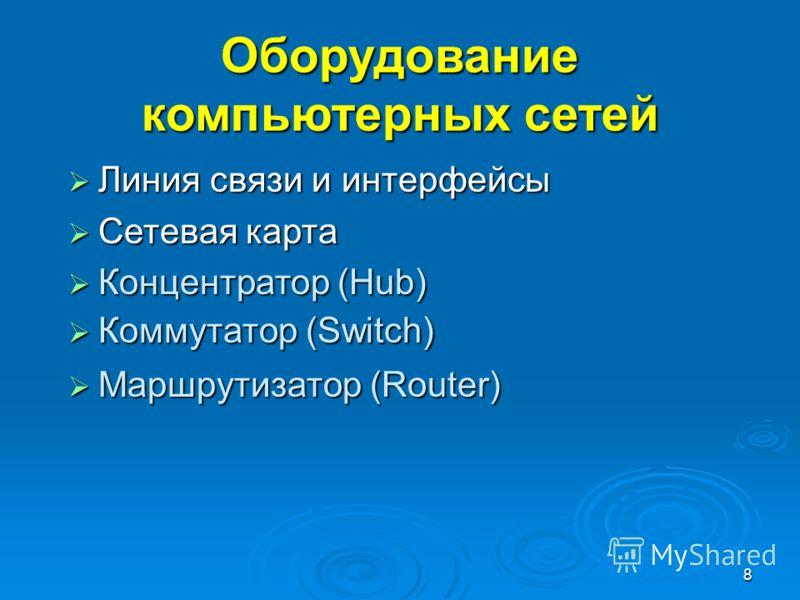 8 Оборудование компьютерных сетей Линия связи и интерфейсы Линия связи и интерфейсы Сетевая карта Сетевая карта Концентратор (Hub) Концентратор (Hub) Коммутатор (Switch) Коммутатор (Switch) Маршрутизатор (Router) Маршрутизатор (Router)