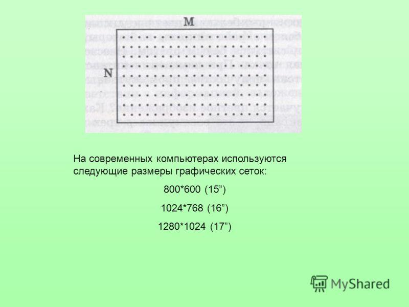 На современных компьютерах используются следующие размеры графических сеток: 800*600 (15) 1024*768 (16) 1280*1024 (17)