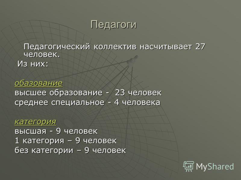 Педагоги Педагогический коллектив насчитывает 27 человек. Из них: Из них:обазование высшее образование - 23 человек среднее специальное - 4 человека категория высшая - 9 человек 1 категория – 9 человек без категории – 9 человек